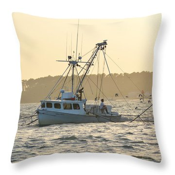 Sunset Shrimping With The Gulls Throw Pillow