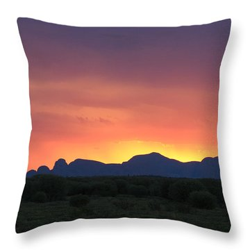 Throw Pillow featuring the photograph Sunset Silhouette Of Kata Tjuta In The Northern Territory by Keiran Lusk