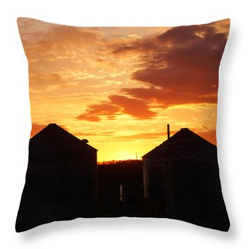 Throw Pillow featuring the digital art Sunset Silos by Jana Russon