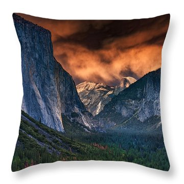 Sunset Skies Over Yosemite Valley Throw Pillow