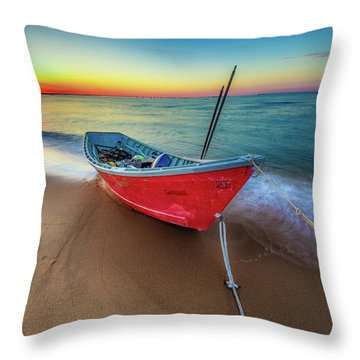 Sunset Skiff Throw Pillow