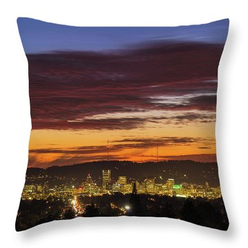 Sunset Sky Over Portland Oregon City Skyline Throw Pillow by David Gn