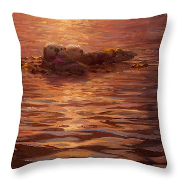 Sunset Snuggle - Sea Otters Floating With Kelp At Dusk Throw Pillow