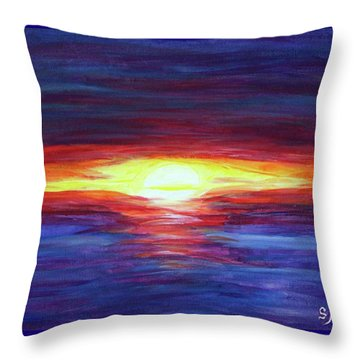 Throw Pillow featuring the painting Sunset by Sonya Nancy Capling-Bacle