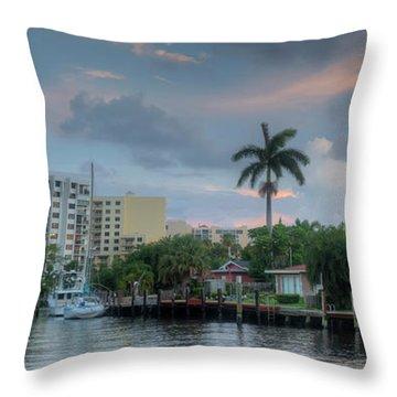 sunset South Florida canal Throw Pillow