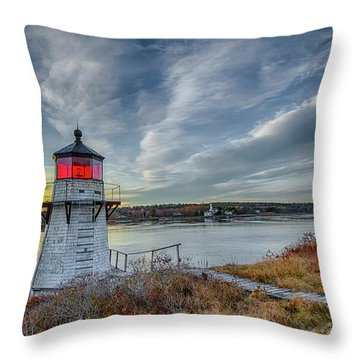 Sunset, Squirrel Point Lighthouse Throw Pillow