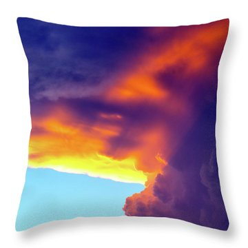 Sunset Storm Throw Pillow by Mitch Cat