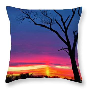 Sunset Sundog  Throw Pillow by Ricky L Jones