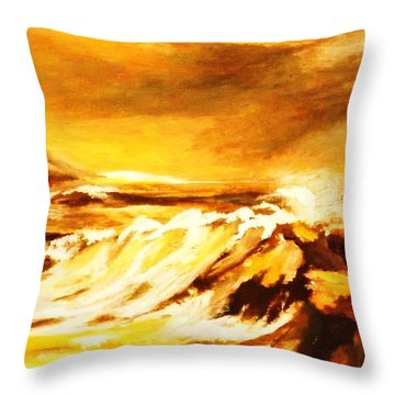 Throw Pillow featuring the painting Sunset Surf by Al Brown