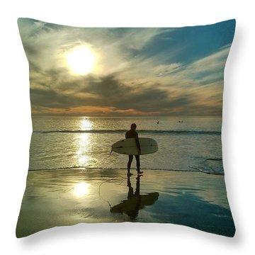 Sunset Surfer Throw Pillow