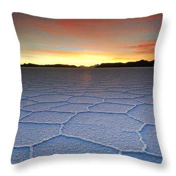 Lake Uyuni Sunset Texture Throw Pillow