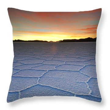 Lake Uyuni Sunset Texture Throw Pillow by Aivar Mikko
