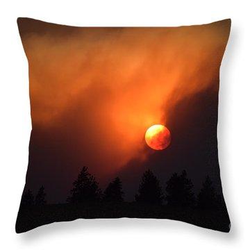 Sunset Through Smoke Throw Pillow