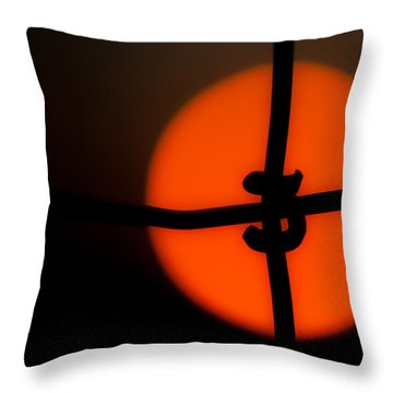 Sunset Through The Fence Throw Pillow by Mark Alder
