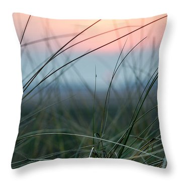 Sunset  Through The Marsh Grass Throw Pillow