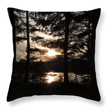 Sunset Through The Pines Throw Pillow
