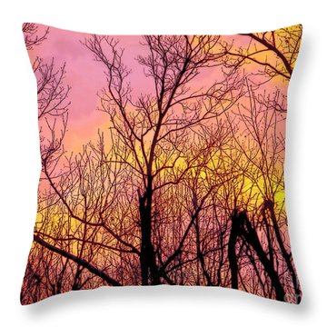 Sunset Through The Trees Throw Pillow by Craig Walters
