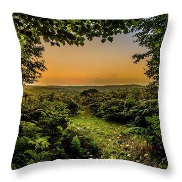 Sunset Through Trees Throw Pillow