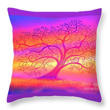 Throw Pillow featuring the painting Sunset Tree Cats by Nick Gustafson