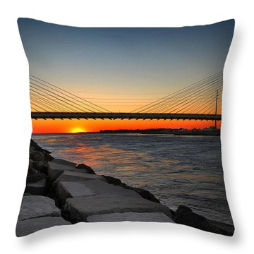 Sunset Under The Indian River Inlet Bridge Throw Pillow