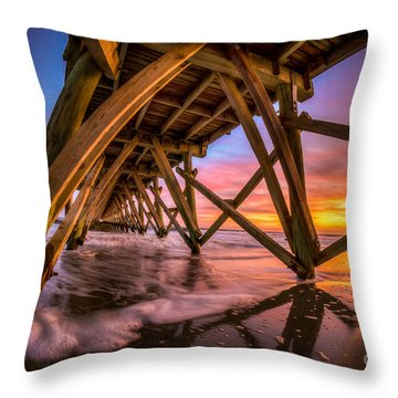 Sunset Under The Pier Throw Pillow