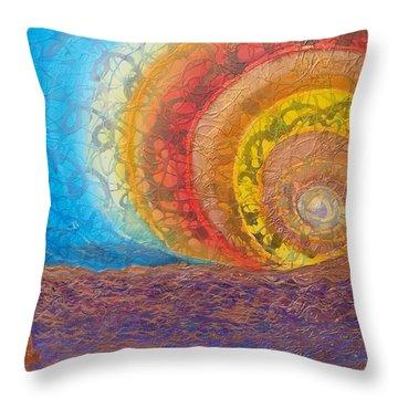 Sunset Unfurls Over Purple Sea Throw Pillow