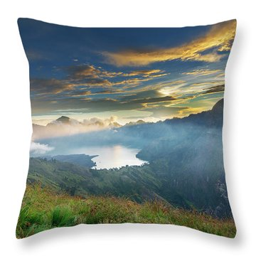 Throw Pillow featuring the photograph Sunset View From Mt Rinjani Crater by Pradeep Raja Prints