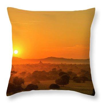 Sunset View Of Bagan Pagoda Throw Pillow