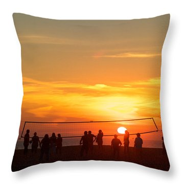 Sunset Volleyball Throw Pillow