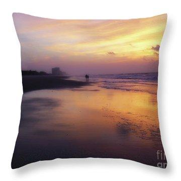 Sunset Walk On Myrtle Beach Throw Pillow