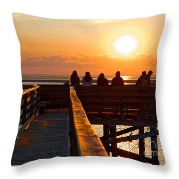 Sunset Watching At Grays Beach Boardwalk Throw Pillow
