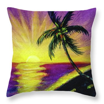 Sunset Water Color Footprints #26 Throw Pillow by Donald k Hall