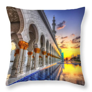 Sunset Water Path Temple Throw Pillow