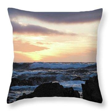 Sunset Waves, Asilomar Beach, Pacific Grove, California #30431 Throw Pillow