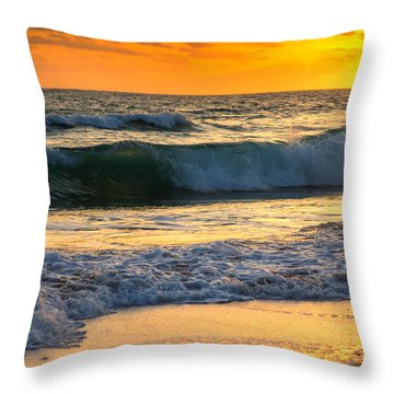 Sunset Waves Throw Pillow by Rebecca Hiatt