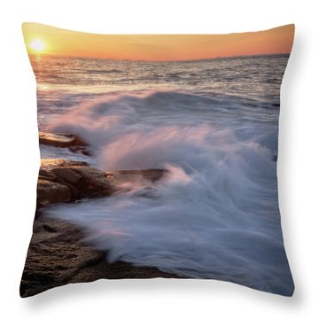 Throw Pillow featuring the photograph Sunset Waves Rockport Ma. by Michael Hubley