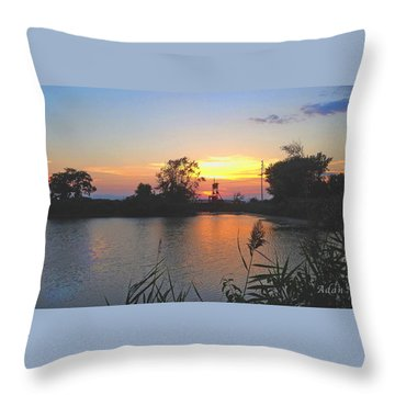 Sunset West Of Myer's Bagels Throw Pillow by Felipe Adan Lerma