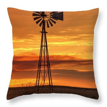 Sunset Windmill 01 Throw Pillow