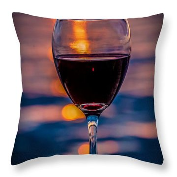 Sunset Wine Throw Pillow