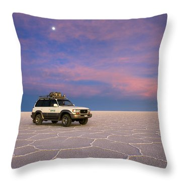 Lake Uyuni Sunset With Car Throw Pillow by Aivar Mikko