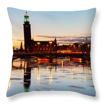 Sunset With Cityhall Of Stockholm Throw Pillow