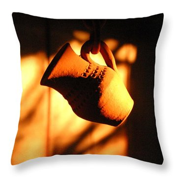 Throw Pillow featuring the photograph Sunset With Clay Jug by Emanuel Tanjala