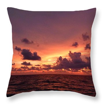 Sunset With Deep Purple Clouds Throw Pillow