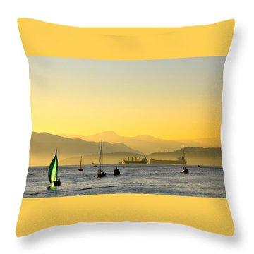Sunset With Green Sailboat Throw Pillow