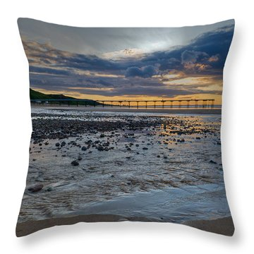 Sunset With Saltburn Pier Throw Pillow by Gary Eason