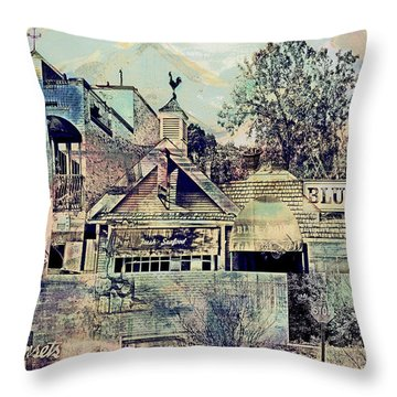 Throw Pillow featuring the digital art Sunsets And Blue Point Collage by Susan Stone