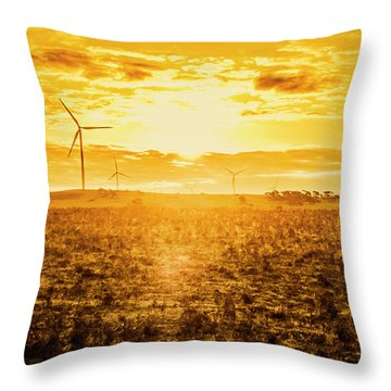 Sunsets And Golden Turbines Throw Pillow