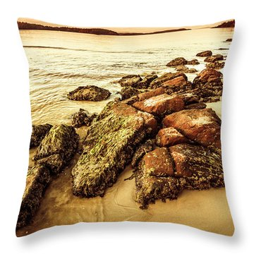 Sunsets And Sea Stones Throw Pillow