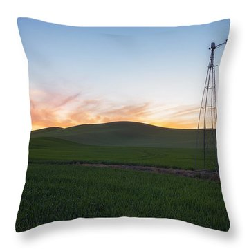 Sunset's Blaze In Palouse Throw Pillow by Ryan Manuel