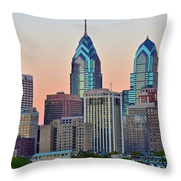 Throw Pillow featuring the photograph Sunsets Glow In Philly by Frozen in Time Fine Art Photography